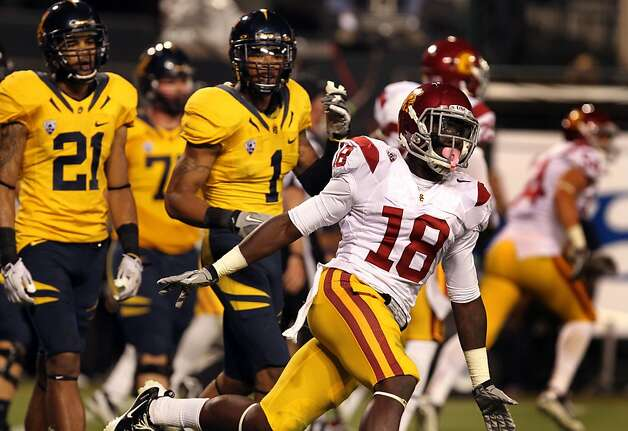 Dion Bailey #18 of the USC Trojans celebrates his interception in the end-zone that stopped a California Golden Bears drive late into the second quarter at AT&T Park on October 13, 2011 in San Francisco, California. Photo: Lance Iversen, The Chronicle