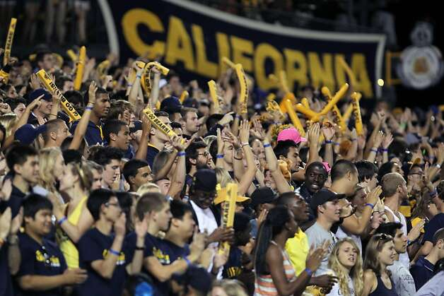 California fans celebrate a first down by the Bears in the first half of their game with the USC Trojans at AT&T Park on October 13, 2011 in San Francisco, California. Photo: Lance Iversen, The Chronicle