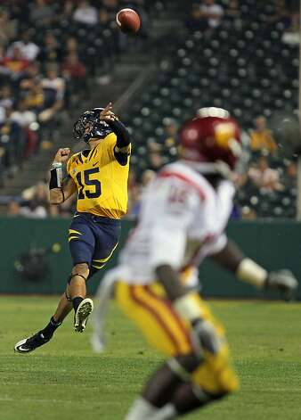 California Golden Bears Zach Maynard #15 launches a pass in the fourth quarter during their game with the USC Trojans at AT&T Park on October 13, 2011 in San Francisco, California. USC won 30-9. Photo: Lance Iversen, The Chronicle