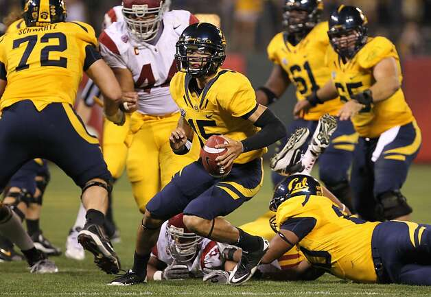 California Golden Bears quarterback Zach Maynard runs out of the pocket during their game with the USC Trojans  at AT&T Park on October 13, 2011 in San Francisco, California. Photo: Lance Iversen, The Chronicle
