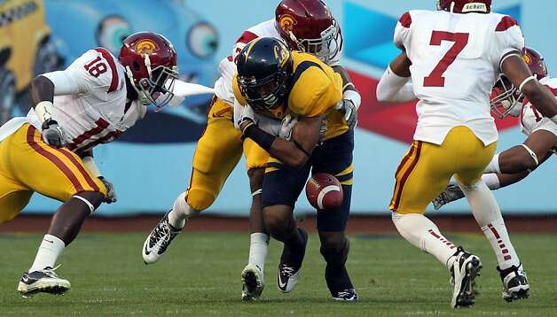 California Golden Bears Keenan Allen #21 fumbles the ball during first action with USC Trojans at AT&T Park on October 13, 2011 in San Francisco, California. USC won 30-9. Photo: Lance Iversen, The Chronicle