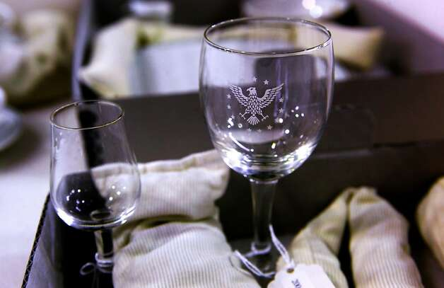 "Glassware from the President's class of service displyaed, at the San Francisco Airport's Aviation Museum in San Francisco, Ca., on Wednesday October 12, 2011. In ABC television's new drama ""Pan Am"" set in the early 1960's, pilots and stewardesses onboard the iconic airline jet off to Paris, Rome and New York City, but research for the show took flight in San Francisco as the director, costumers and set designers traveled to the SFO Museum to dig through files to get everything from the correct cabin interiors of the aircraft to the style of uniforms for the pilots and stewardesses. Photo: Michael Macor, The Chronicle"