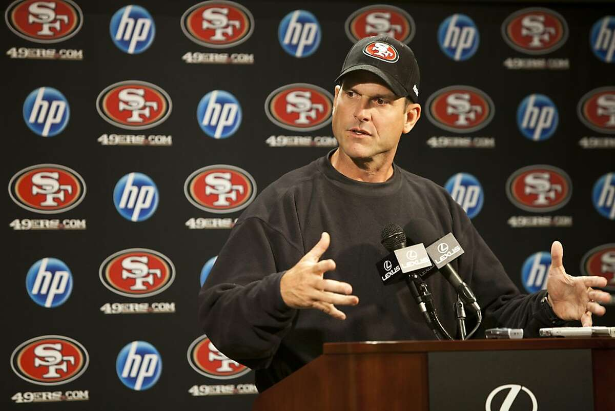 49ers Head Coach Jim Harbaugh holds a press conference following the fight that broke out postgame on Sunday with Detroit Lions Head Coach Jim Schwartz on Monday, October 17, 2011 in Santa Clara, Calif. Harbaugh says he has he will not apologize to Schwartz.