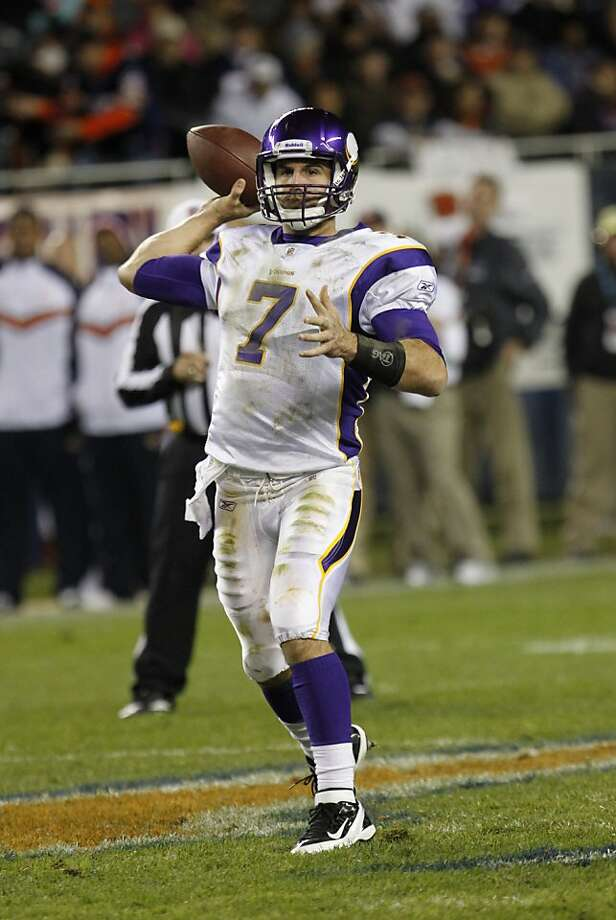 Minnesota Vikings quarterback Christian Ponder throws in the second half of an NFL football game against the Chicago Bears in Chicago, Sunday, Oct. 16, 2011. (AP Photo/Charles Rex Arbogast) Photo: Charles Rex Arbogast, AP