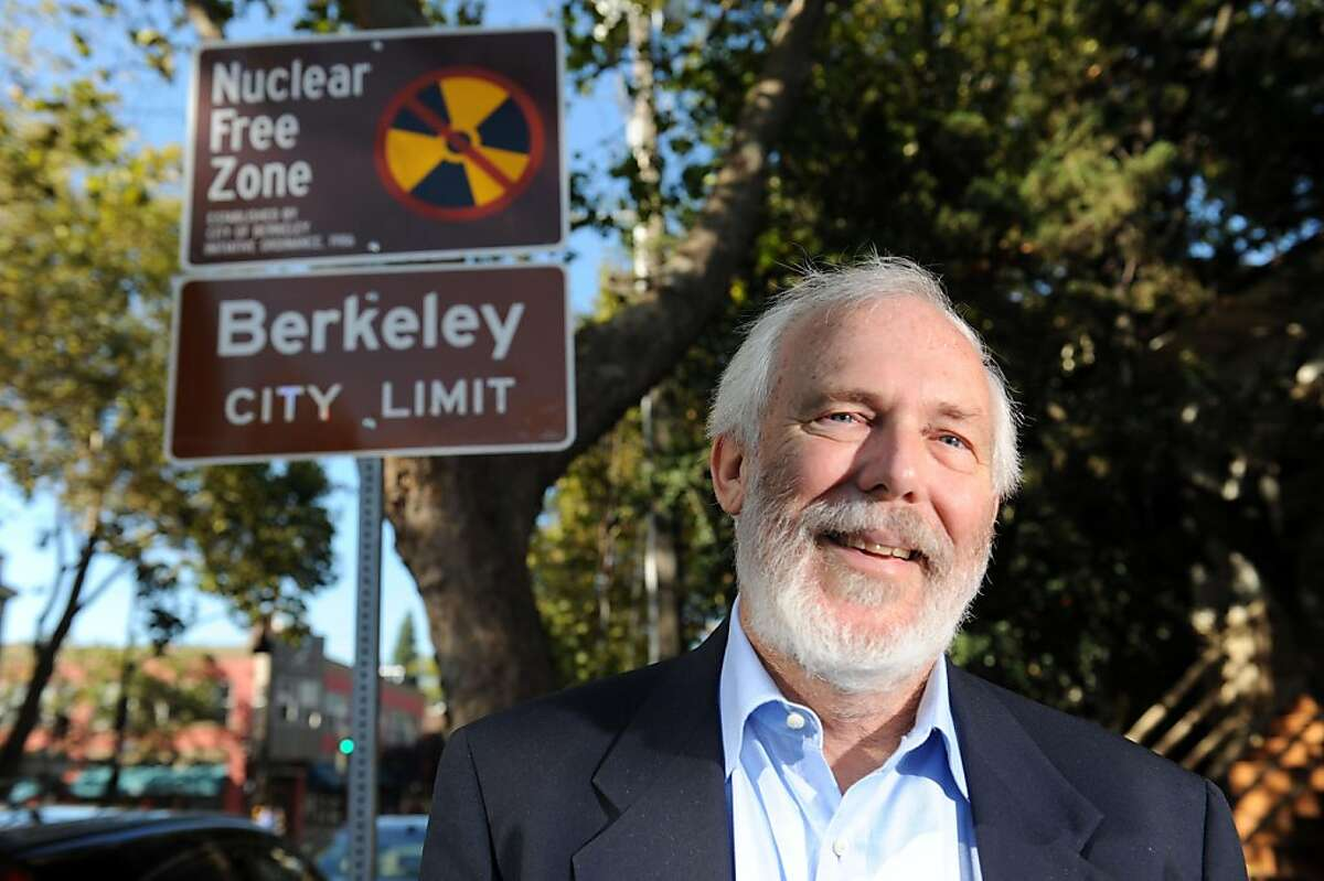 Berkeley city councilman Gordon Wozniak poses for a photo in front of a Nuclear Free Zone sign on College Avenue near Alcatraz on October 7, 2011. He is pushing to get the city to reverse its policy on not investing in US Treasury bonds.