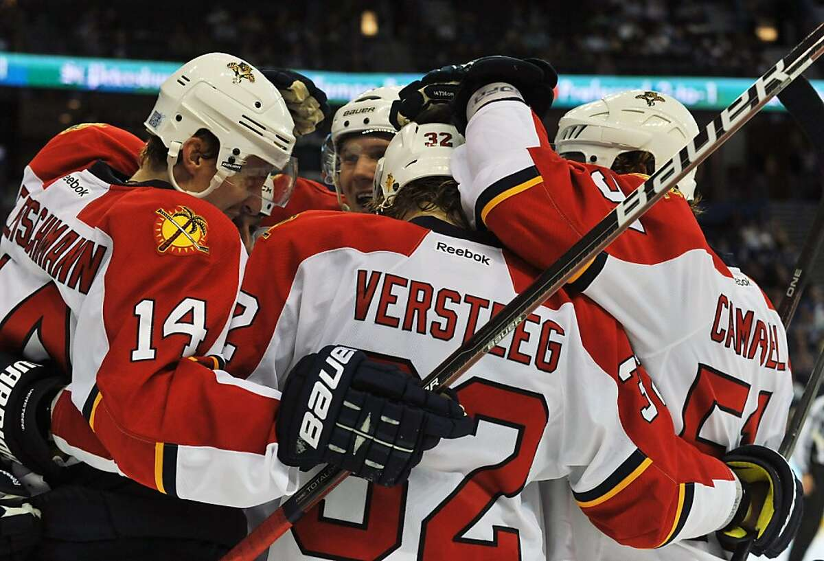 TAMPA, FL - OCTOBER 17: Right wing Kris Versteeg #32 of the Florida Panthers celebrates a goal against the Tampa Bay Lightning October 17, 2011 at St. Pete Times Forum in Tampa, Florida. (Photo by Al Messerschmidt/Getty Images)
