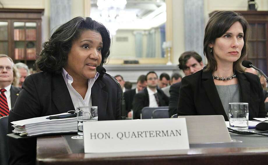 Pipeline and Hazardous Materials Safety Administration Administrator Cynthia Quarterman, left, and National Transportation Safety Board (NTSB) Chairman Deborah Hersman testify on Capitol Hill in Washington Tuesday Oct. 18, 2011, before the Senate Commerce, Science, and Transportation Committee hearing on pipeline safety since San Bruno and other recent incidents.  (AP Photo/Manuel Balce Ceneta) Photo: Manuel Balce Ceneta, AP