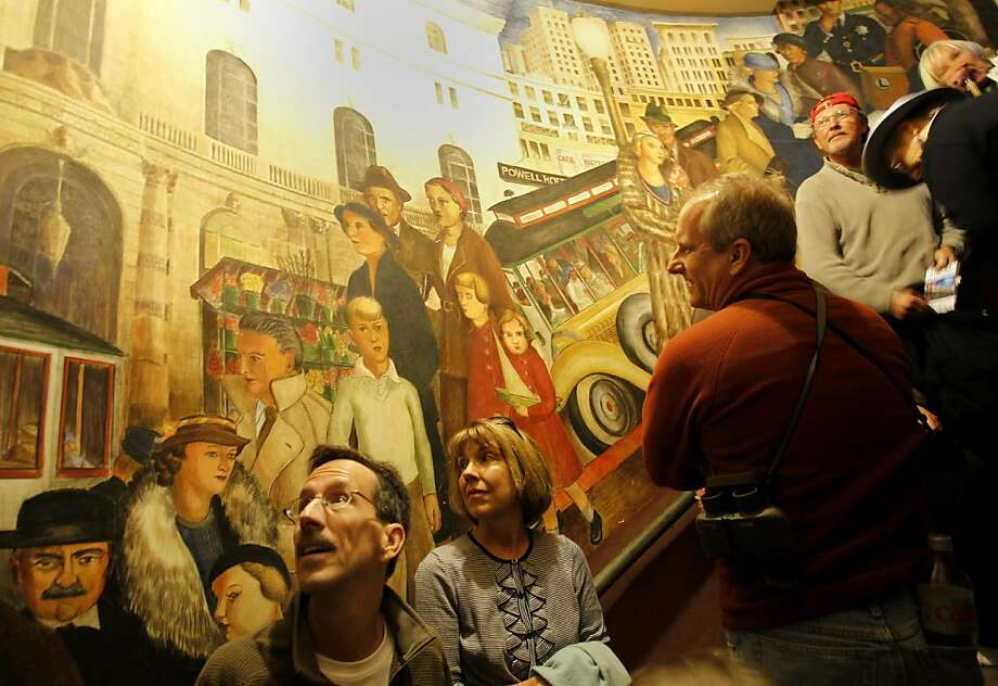 On a scheduled tour of Coit Tower, visitors can view the murals in the upstairs and stair wells of the tower. The murals which adorn the inside of Coit Tower in San Francisco, Calif., which depict scenes of California labor and life during the Great Depression, have become scratched, faded and abused say tour guides. Photo: Brant Ward, The Chronicle