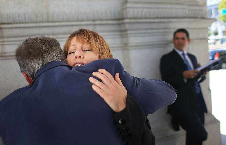 Wendy Walsh (right), mother of Seth Walsh, gets a hug from assemblymember Tom Ammiano (left)  (D-San Francisco) after  a press conference regarding AB 9, known as Seth's Law, in San Francisco, Calif., on Monday, October 17, 2011. Seth Walsh, was a 13-year-old gay student from Tehachapi, CA, who took his life in September 2010, after facing years of relentless anti-gay harassment at school. The bill is designed to address the pervasive problem of school bullying by providing California schools with tools to create a safe school environment for all students. Photo: Lea Suzuki, The Chronicle