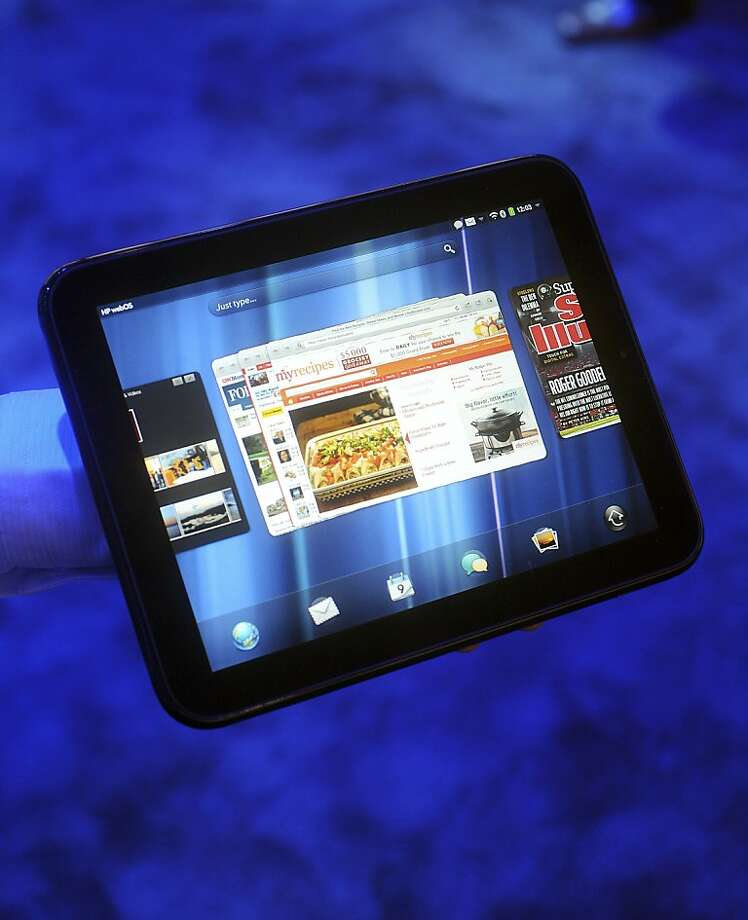 A Hewlett-Packard Co. TouchPad tablet computer is held for a photo during an HP event in San Francisco, California, U.S., on Wednesday, Feb. 9, 2011. Hewlett-Packard Co., aiming to gain a foothold in the market for handheld computers, plans to begin selling tablets and smartphones that run software acquired in the purchase of Palm Inc. last year. Photographer: Noah Berger/Bloomberg  Ran on: 02-13-2011 Hewlett-Packard last week rolled out the TouchPad, an alternative to the iPad.  Ran on: 06-10-2011 The TouchPad will go on sale next month.  Ran on: 06-27-2011 The TouchPad is HP's entry into the tablet computer market, a challenge to Apple's iPad.  Ran on: 08-18-2011 Hewlett- Packard, whose TouchPad received mixed reviews from critics, will discuss tablet sales today. Photo: Noah Berger, Bloomberg