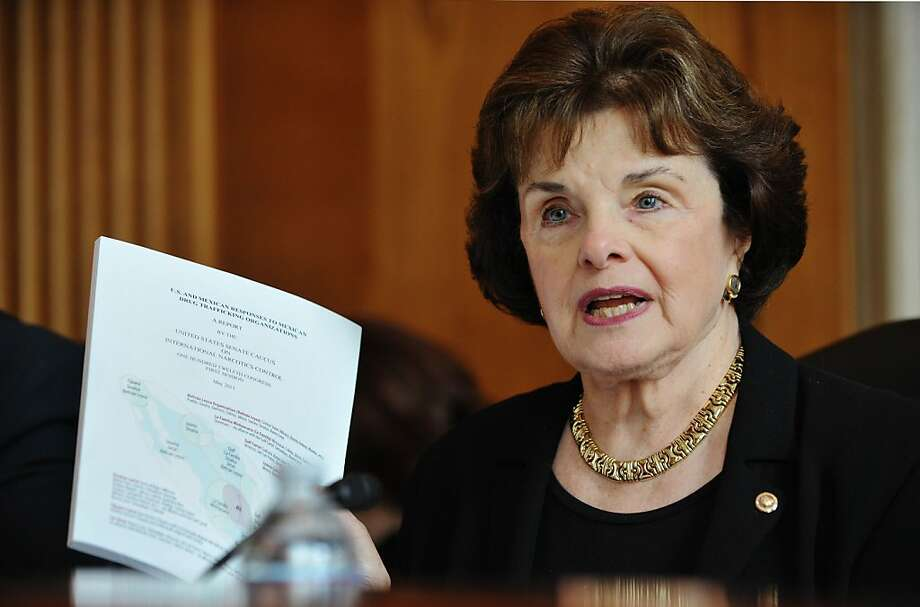 "Chairman of the Senate Caucus on International Narcotics Control Senator Dianne Feinstein, D-CA, holds up a copy of the report ""US and Mexican Responses to Mexican Drug Trafficking Organizations"" at tne Senate Caucus hearing on International Narcotics Control on US - Central America cooperation on efforts combating drug trafficking May 25, 2011 in the Dirksen Senate Office building on Capitol Hill in Washington, DC. The meeting of the Caucus coincided with the release of its report on Mexican drug organizations and US and Mexican responses to them. AFP PHOTO/Mandel NGAN (Photo credit should read MANDEL NGAN/AFP/Getty Images) Ran on: 06-03-2011 Photo caption Dummy text goes here. Dummy text goes here. Dummy text goes here. Dummy text goes here. Dummy text goes here. Dummy text goes here. Dummy text goes here. Dummy text goes here.<137,1970-12-18-17-21-52,><252>###Photo: water03_PH1_feinstein<252>1306195200<252>AFP<252>###Live Caption:Chairman of the Senate Caucus on International Narcotics Control Senator Dianne Feinstein, D-CA, holds up a copy of the report ""US and Mexican Responses to Mexican Drug Trafficking Organizations"" at tne Senate Caucus hearing on International Narcotics Control on US - Central America cooperation on efforts combating drug trafficking May 25, 2011 in the Dirksen Senate Office building on Capitol Hill in Washington, DC. The meeting of the Caucus coincided with the release of its report on Mexican drug organizations and US and Mexican responses to them.###Caption History:Chairman of the Senate Caucus on International Narcotics Control Senator Dianne Feinstein, D-CA, holds up a copy of the report ""US and Mexican Responses to Mexican Drug Trafficking Organizations"" at tne Senate Caucus hearing on International... Photo: Mandel Ngan, AFP/Getty Images"
