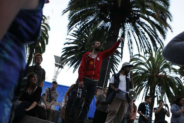 Sean Semans leads a demonstration of Occupy SF protestors in Justin Hermann Plaza in San Francisco, Calif., on Monday, Oct. 17, 2011. Photo: Dylan Entelis, The Chronicle