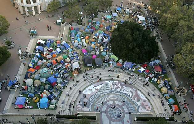 The Occupy Oakland camp covers Frank Ogawa Plaza, on Monday, Oct. 17, 2011, in Oakland, Calif. Photo: Mathew Sumner, Special To The Chronicle