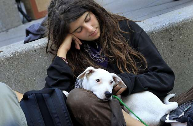 Zoe sat with a friends dog at the plaza. The OccupySF movement took some time to rest Monday October 17, 2011 after a police action to remove the tarps on their occupation at Justin Herman Plaza at the foot of Market Street in San Francisco, Calif. resulted in some arrests. Photo: Brant Ward, The Chronicle
