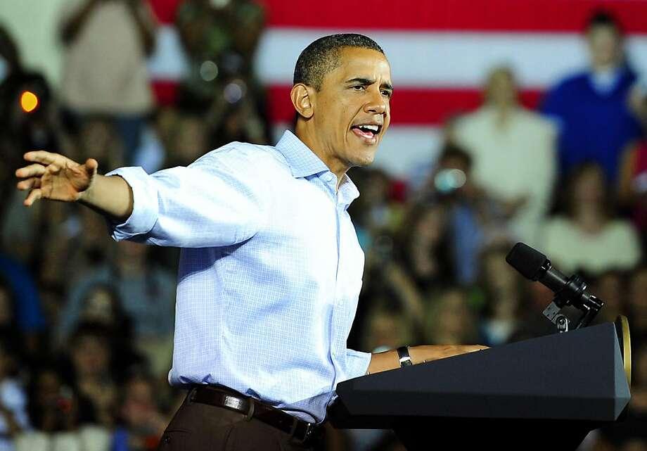 President Barack Obama speaks Monday, October 17, 2011 at West Wilkes High School in Millers Creek, North Carolina, to promote his $447 billion job-creation package. (Jeff Siner/Charlotte Observer/MCT) Photo: Jeff Siner, MCT