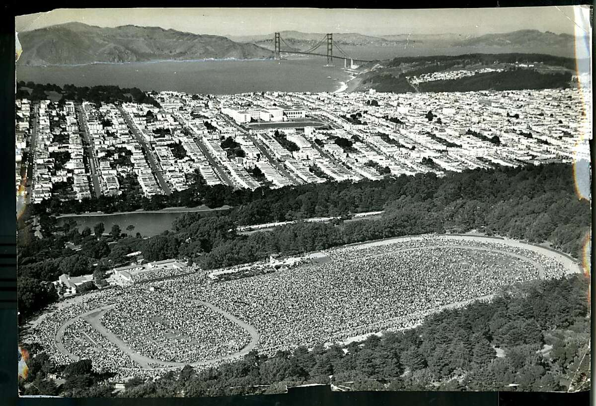 View of the polo grounds in Golden Gate Park, in San Francisco, Ca. on October 7, 1971, of the gathering of 500,000 Catholics holding a Rosary Crusade.
