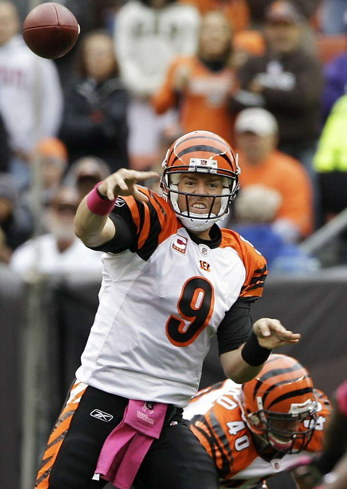 Cincinnati Bengals quarterback Carson Palmer passes against the Cleveland Browns in the first quarter of an NFL football game on Sunday, Oct. 3, 2010, in Cleveland. (AP Photo/Amy Sancetta) Ran on: 10-04-2010 Carson Palmer