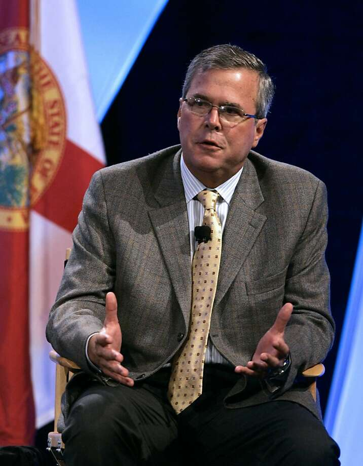 FILE -- In this June 19, 2008 file photo, former Florida Gov. Jeb Bush responds to questions at the Excellence in Action conference, a national summit on education reform, in Lake Buena Vista, Fla.(AP Photo/John Raoux, File) Ran on: 05-03-2009 Former Florida Gov. Jeb Bush is on the tour. Photo: John Raoux, AP