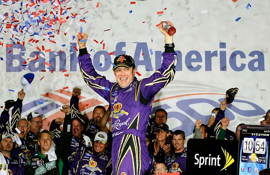 CHARLOTTE, NC - OCTOBER 15:  Matt Kenseth, driver of the #17 Fluidmaster Ford, celebrates in Victory Lane after winning the NASCAR Sprint Cup Series Bank of America 500 at Charlotte Motor Speedway on October 15, 2011 in Charlotte, North Carolina.  (Photo by Jason Smith/Getty Images for NASCAR) Photo: Jason Smith, Getty Images For NASCAR