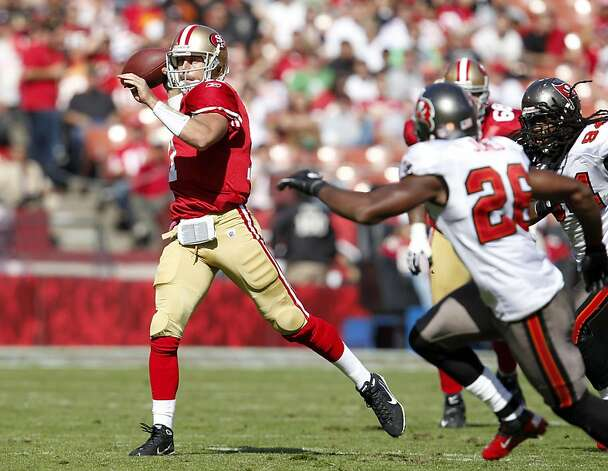 San Francisco 49ers quarterback Alex Smith throws the ball for a first down against theTampa Bay Buccaneers,  Sunday Oct. 9, 2011, at Candlestick Park in San Francisco, Calif. The 49ers defeated the Buccaneers 48 to 3. Photo: Lacy Atkins, The Chronicle