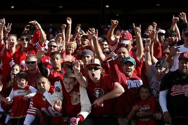 San Francisco 49ers fans cheer as the 49ers leave the field after defeating the Tampa Bay Buccaneers,  48 to 3, Sunday Oct. 9, 2011, at Candlestick PArk in San Francisco, Calif. Photo: Lacy Atkins, The Chronicle