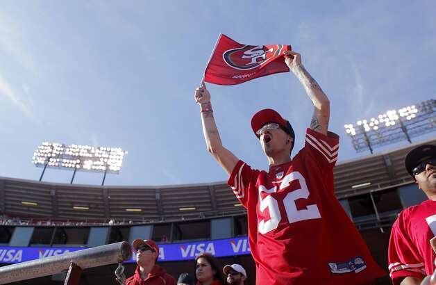 San Francisco 49ers fan Tim Nanteu of Sacramento shows his spirt after their defeat the Tampa Bay Buccaneers,  48 to 3, Sunday Oct. 9, 2011, at Candlestick PArk in San Francisco, Calif. Photo: Lacy Atkins, The Chronicle