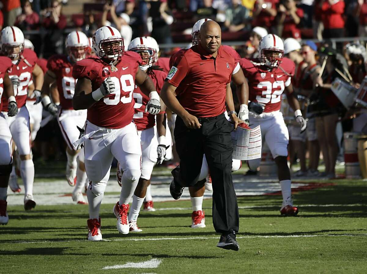 Stanford head coach David Shaw in the second quarter of an NCAA college football game in Stanford, Calif., Saturday, Oct. 8, 2011. (AP Photo/Paul Sakuma)