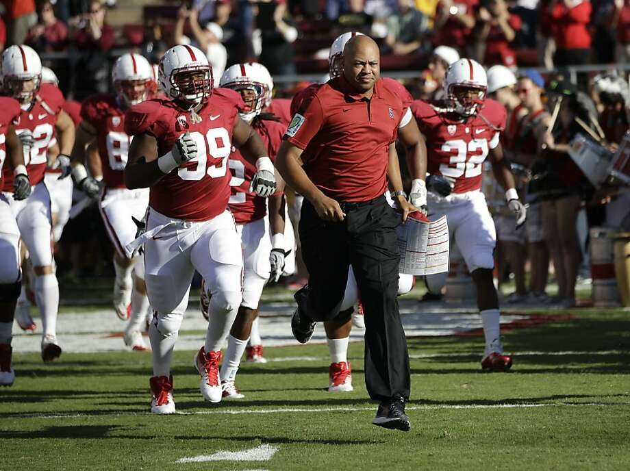 Stanford head coach David Shaw in the second quarter of an NCAA college football game in Stanford, Calif., Saturday, Oct. 8, 2011. (AP Photo/Paul Sakuma) Photo: Paul Sakuma, AP