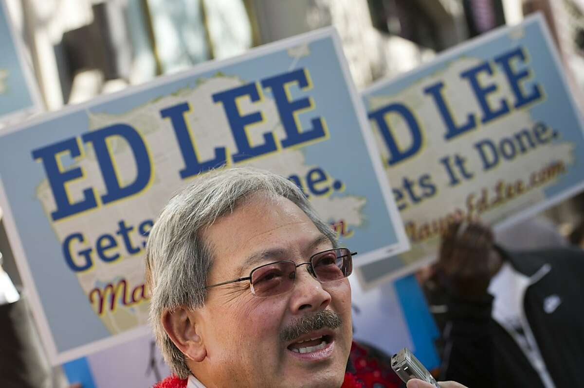 Mayoral candidate Ed Lee speaks to the media as he greets supporters as he opens his campaign headquarters on Market Street on August 20, 2011 in San Francisco, Calif. Photograph by David Paul Morris/Special to the Chronicle