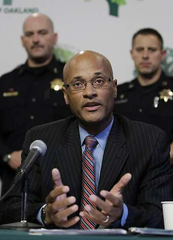 New Oakland interim Police Chief, Howard Jordan gestures during a news conference at Oakland City Hall in Oakland, Calif., Thursday, Oct. 13, 2011. Jordan replaced Anthony Batts, who resigned on Tuesday.  (AP Photo/Paul Sakuma) Photo: Paul Sakuma, AP