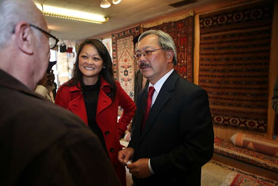 Noubar (Oscar) Demirjian (l to r) talks with Supervisor Carmen Chu and Mayor Ed Lee during a Sunset District Merchant Walk at Palayan's Oriental Rugs on Irving Street on Monday, August 8, 2011 in San Francisco, Calif. Photo: Lea Suzuki, The Chronicle