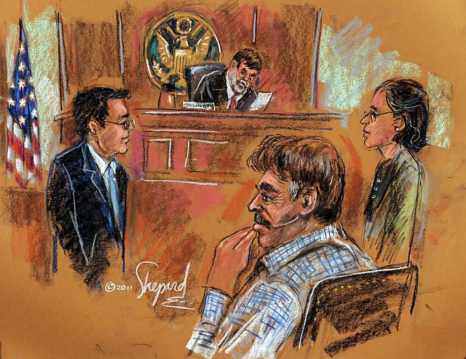 This courtroom drawing shows Manssor Arbabsiar (2R), who holds both a US and Iranian passport, charged over an alleged Iranian government-directed plot to murder the Saudi Ambassador to the United States with explosives, appearing before US Southern District Court Judge Michael H. Dolinger (BACKGROUND) and United States Assistant US Attorney Glen Kopp (L) during his Arraignment at Federal Court in New York October 11, 2011.  AFP PHOTO / SHIRLEY SHEPARD (Photo credit should read SHIRLEY SHEPARD/AFP/Getty Images) Photo: Shirley Shepard, AFP/Getty Images