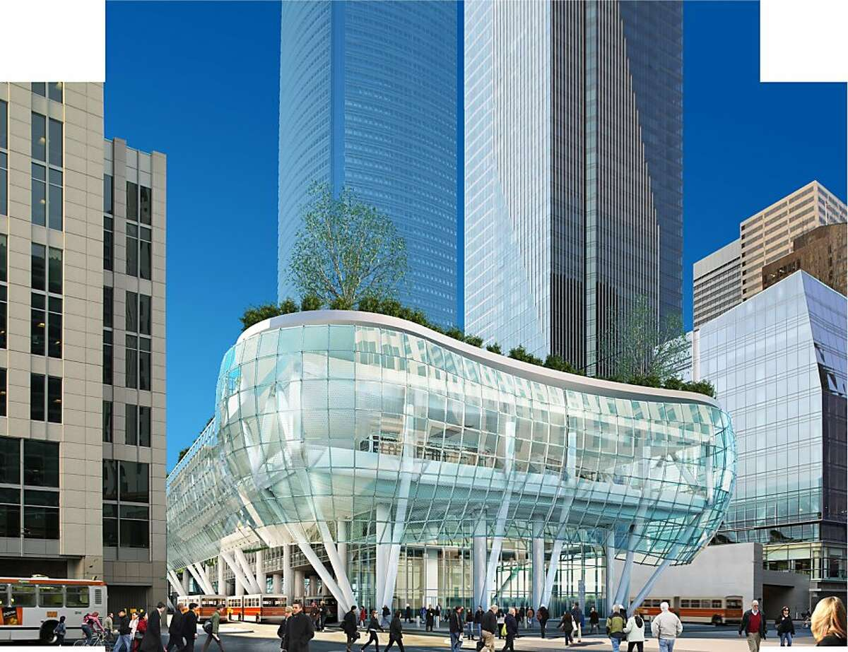 The Transbay Transit Center intended to replace the Transbay Terminal would conclude at Beale Street, with Muni buses on the ground beneath shops, a commuter bus pavilion and a park. The tall tower on the right is Millennium Tower, which exists. The one in the middle is the proposed Transbay tower. CREDIT: Project Architect: Pelli Clarke Pelli. Renderings courtesy of the Transbay Joint Powers Authority. Ran on: 04-22-2010 The Transbay Terminal design shows Muni buses on the ground beneath a commuter bus pavilion and a park. The tall buildings behind are the proposed Transbay tower (left) and the existing Millennium Tower (right). Ran on: 04-22-2010 The Transbay Terminal design shows Muni buses on the ground beneath a commuter bus pavilion and a park. The tall buildings behind are the proposed Transbay Tower (left) and the existing Millennium Tower (right). Ran on: 07-14-2010 Photo caption Dummy text goes here. Dummy text goes here. Dummy text goes here. Dummy text goes here. Dummy text goes here. Dummy text goes here. Dummy text goes here. Dummy text goes here.###Photo: transbay14_refer_ph0###Live Caption:The Transbay Transit Center intended to replace the Transbay Terminal would conclude at Beale Street, with Muni buses on the ground beneath shops, a commuter bus pavilion and a park. The tall tower on the right is Millennium Tower, which exists. The one in the middle is the proposed Transbay tower. CREDIT: Project Architect: Pelli Clarke Pelli. Renderings courtesy of the Transbay Joint Powers Authority.###Caption History:The Transbay Transit Center intended to replace the Transbay Terminal would conclude at Beale Street, with Muni buses on the ground beneath shops, a commuter bus pavilion...