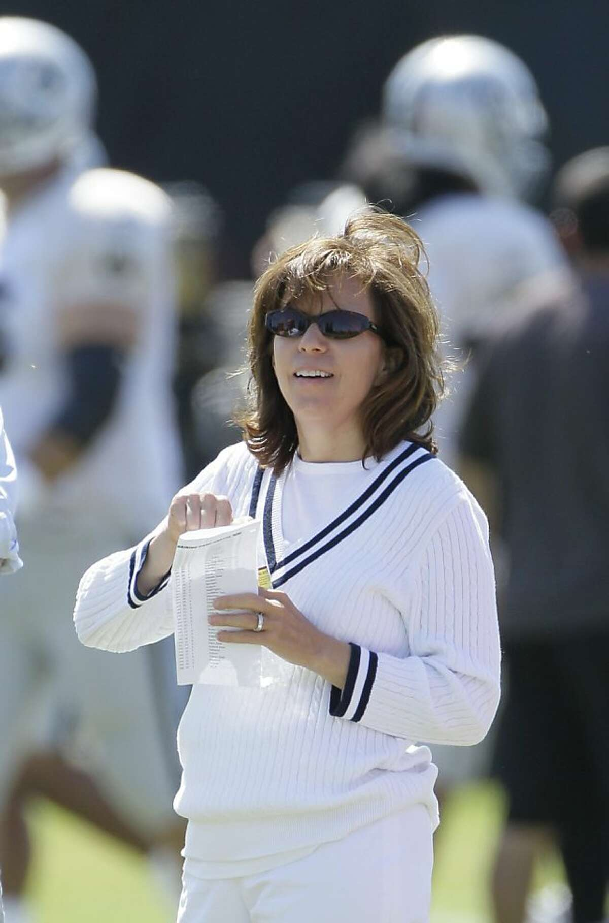 Oakland Raiders CEO Amy Trask during their NFL football training camp in Napa, Calif.,Thursday, Aug. 4, 2011. (AP Photo/Eric Risberg) Ran on: 10-09-2011 Amy Trask said the Davis family will keep control of the team. There is a succession plan in place, the chief executive said.