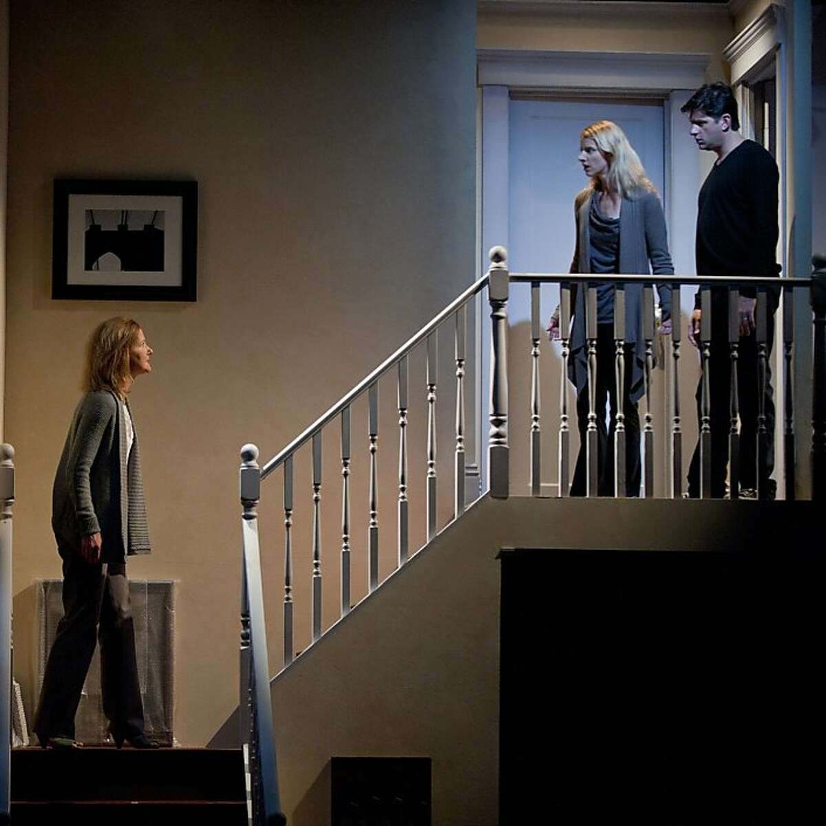 Maddy (Rachel Harker, left) confronts neighbors Jackie (Arwen Anderson) and Alan (Gabriel Marin) after their daughter goes missing in Marin Theatre Company's world premiere of Steve Yockey's