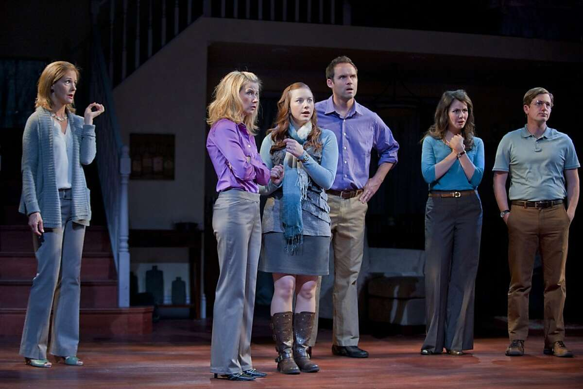 The chorus of worried neighbors after a six-year-old disappears in Marin Theatre Company's world premiere of Steve Yockey's