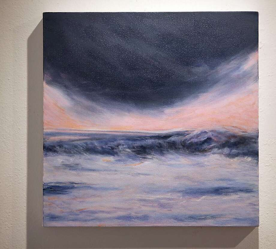 "Oil on canvas, 2010, called ""Limantour Sunset:  Dusk"" by photographer/painter Chris Reding at Bolinas Museum in Bolinas, California, on Friday, September 30, 2011.   Ran on: 10-11-2011 &quo;Limantour Sunset: Dusk,&quo; a 2010 oil-on-canvas work by Chris Reding, is part of her family's exhibition of images inspired by Point Reyes National Seashore that is currently on display at the Bolinas Museum. Ran on: 10-11-2011 &quo;Limantour Sunset: Dusk,&quo; a 2010 oil-on-canvas work by Chris Reding, is part of her family's exhibition of images inspired by Point Reyes National Seashore that is currently on display at the Bolinas Museum. Photo: Liz Hafalia, The Chronicle"