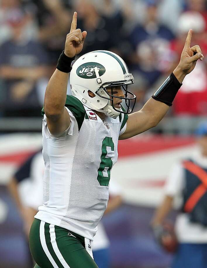 FOXBORO, MA - OCTOBER 9:    Mark Sanchez #6 of the New York Jets reacts after a touchdown during a game against the New England Patriots in the first half at Gillette Stadium on October 9, 2011 in Foxboro, Massachusetts. (Photo by Jim Rogash/Getty Images) Photo: Jim Rogash, Getty Images