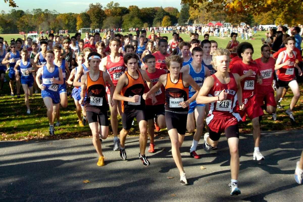 The start of the boys varsity cross country championship race at Waveny Park in New Canaan, on Thursday, Oct.22,2009.
