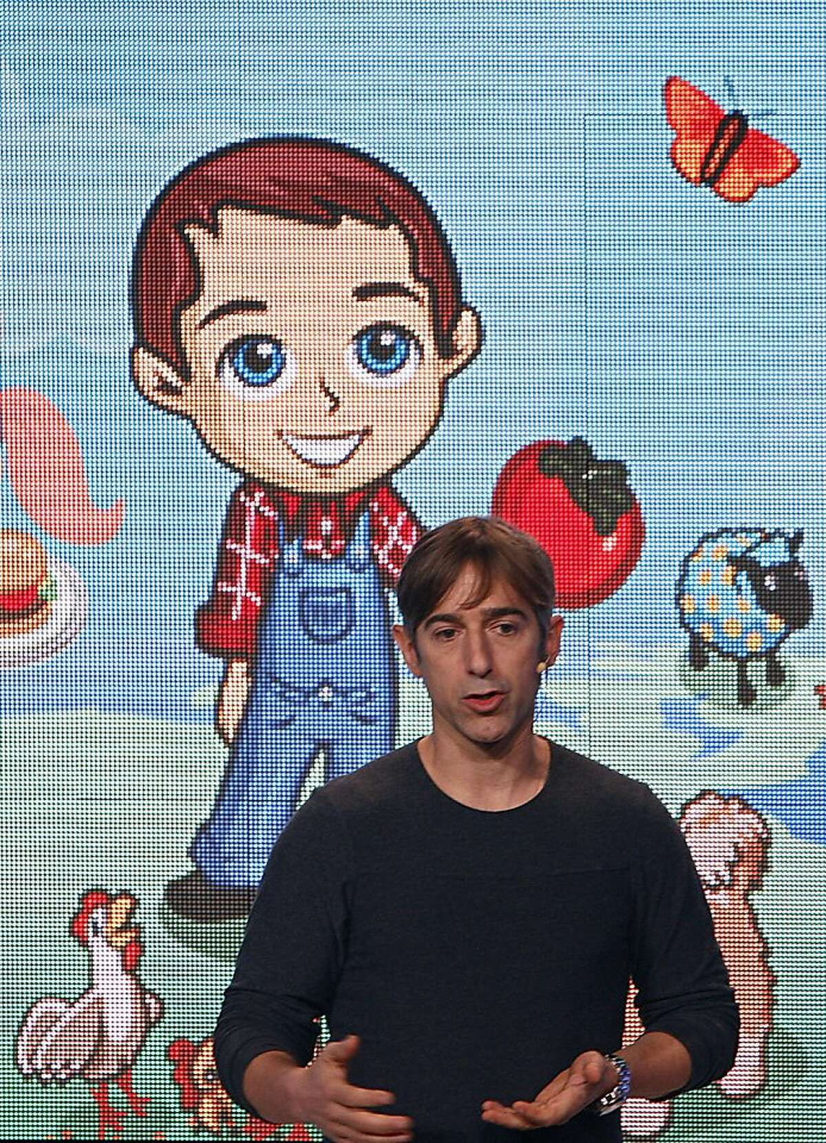 Zynga Inc. CEO and founder Marc Pincus speaking at a news conference at the new Zynga offices in San Francisco, California, on Tuesday, October 11, 2011.