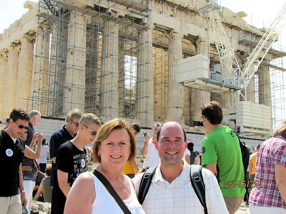Jennifer and Larry Rogers of Petaluma in front of the Parthenon, atop the Acropolis. Photo: Larry Rogers
