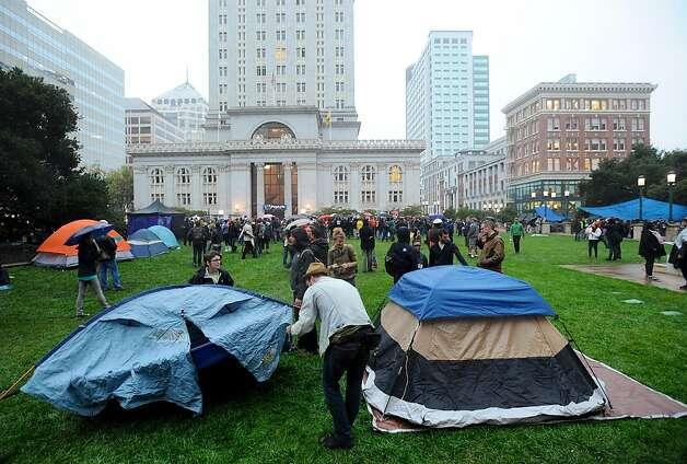 Occupy Oakland protesters set up camp outside city hall on Monday, Oct. 10, 2011, in Oakland, Calif. Photo: Noah Berger, Special To The Chronicle