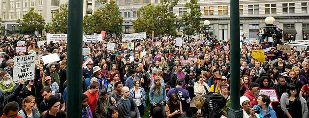 Occupy Oakland protesters gather in front of city hall in Oakland, Calif., on Monday, Oct. 10, 2011. Photo: Noah Berger, Special To The Chronicle