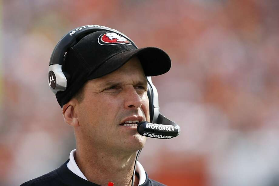 San Francisco 49ers head coach Jim Harbaugh works on the sidelines in the second half of an NFL football game against the Cincinnati Bengals, Sunday, Sept. 25, 2011, in Cincinnati. (AP Photo/Ed Reinke) Photo: Ed Reinke, AP