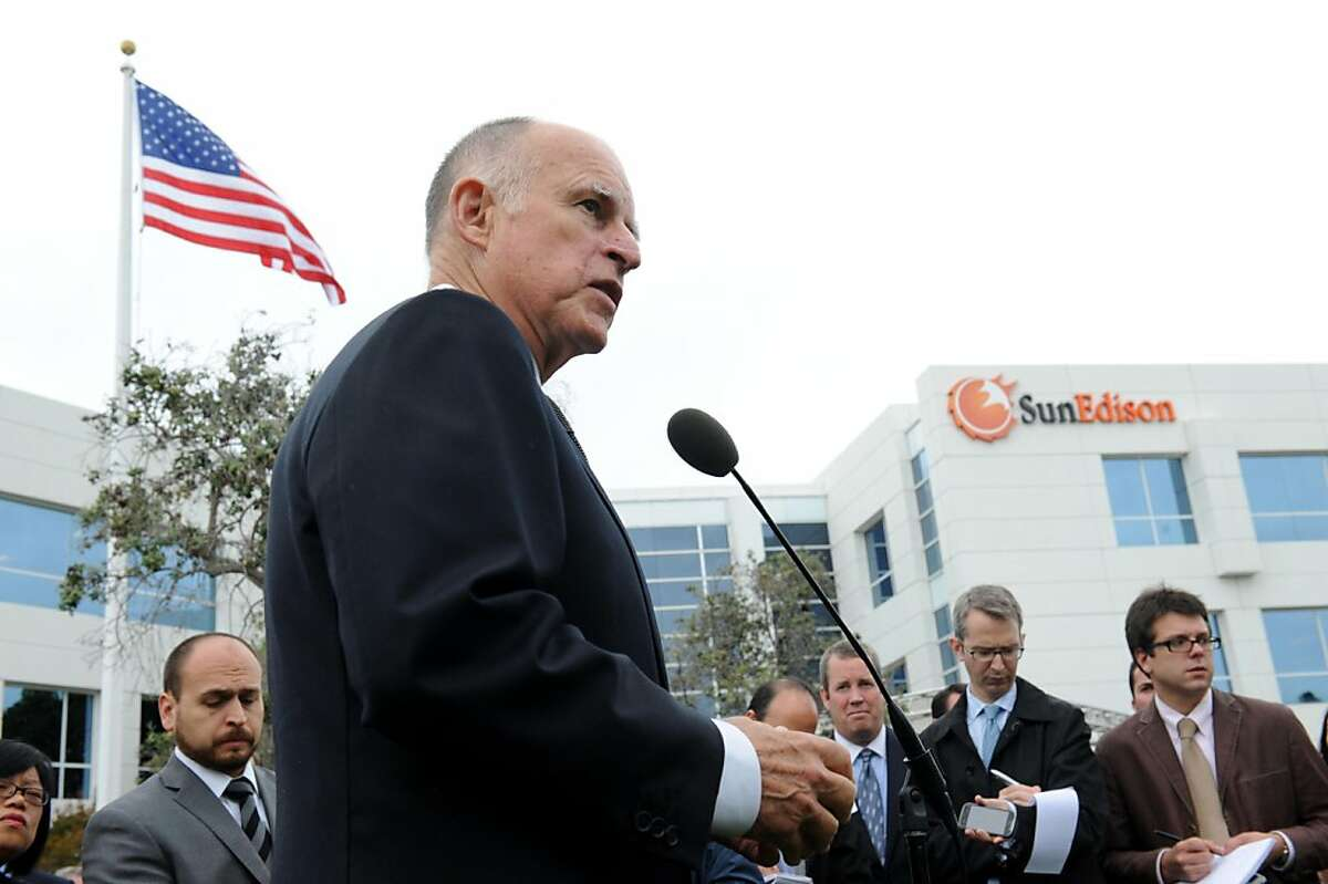 Governor Jerry Brown speaks at a press conference at SunEdison in Belmont on Monday, October 10, 2011. The company that develops large solar power projects, has transferred its headquarters from Maryland to Belmont, drawn by California's supportive political and financial environment for renewable power.