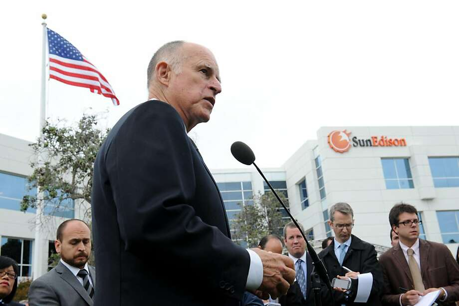 Governor Jerry Brown speaks at a press conference at SunEdison in Belmont on Monday, October 10, 2011. The company that develops large solar power projects, has transferred its headquarters from Maryland to Belmont, drawn by California's supportive political and financial environment for renewable power. Photo: Susana Bates, Special To The Chronicle