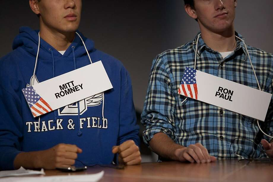Students volunteer to be stand-ins for presidential candidates the day before a Republican presidential debate sponsored by Bloomberg and The Washington Post held at Dartmouth College in Hanover, New Hampshire, U.S., on Monday, Oct. 10, 2011. The event presents the first debate of the 2012 political season focused solely on the economy. Photographer: Scott Eells/Bloomberg Photo: Scott Eells, Bloomberg