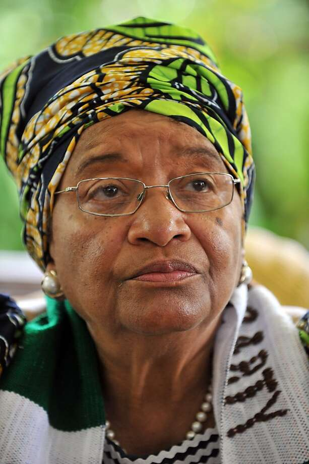 Liberia's President Ellen Johnson Sirleaf, who jointly won the Nobel Peace Prize 2011 today, talks to the press on October 7, 2011 at her house in Monrovia. Liberia, which holds its second election on October 11 since the end of successive civil wars between 1989 and 2003, has been ruled since 2006 by Sirleaf, Africa's first elected woman president. AFP PHOTO / ISSOUF SANOGO (Photo credit should read ISSOUF SANOGO/AFP/Getty Images) Ran on: 10-08-2011 Liberia's President Ellen Johnson Sirleaf is running for a second term on Tuesday. Photo: Issouf Sanogo, AFP/Getty Images
