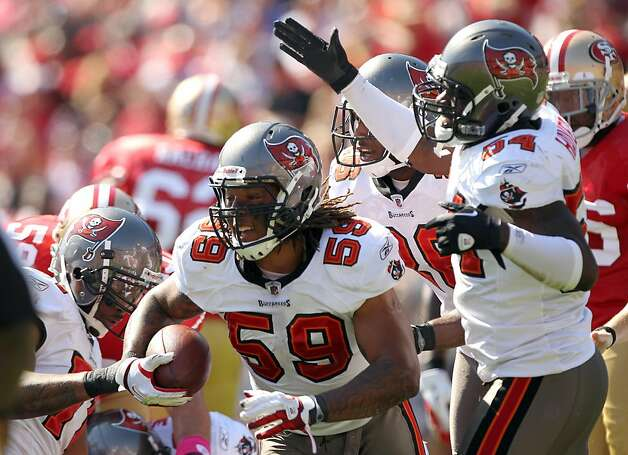 SAN FRANCISCO, CA - OCTOBER 09:   Mason Foster #59 of the Tampa Bay Buccaneers celebrates after he recovered a fumble during their game against the San Francisco 49ers at Candlestick Park on October 9, 2011 in San Francisco, California.  (Photo by Ezra Shaw/Getty Images) Photo: Ezra Shaw, Getty Images
