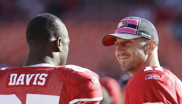 San Francisco 49ers quarterback Alex Smith (11) and San Francisco 49ers tight end Vernon Davis (85) in an NFL football game in San Francisco, Sunday, Oct. 9, 2011. The San Francisco 49ers defeated the Tampa Bay Buccaneers 48-3. (AP Photo/Paul Sakuma) Photo: Paul Sakuma, AP
